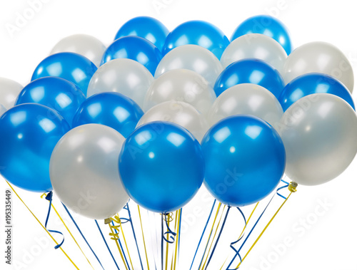 white and blue balloons