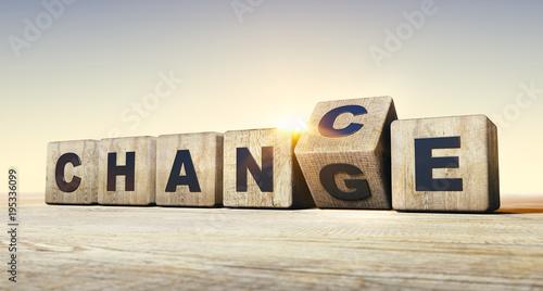 Leinwandbild Motiv Holzwürfel Motiv Change - Chance