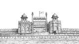 Red Fort, New Delhi, India - Detailed Vector Sketch Illustration - 195337038