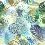 Colourful trendy seamless exotic pattern with tropical plants and hand drawn textures. Modern abstract design for paper, wallpaper, cover, fabric and other users. Vector illustration. - 195337804