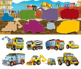 Cartoon Scene  Different Construction Site Vehicles  Illustration Exercise For For Children Wall Sticker