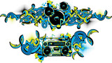 Boom box and loudspeakers in graffiti style