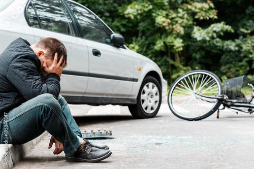Driver on sidewalk