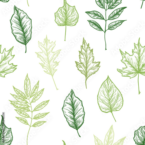 Hand drawn vector illustration. Spring seamless pattern with green leaves, herbs and branches. Floral Design elements. Perfect for wedding invitations, greeting cards, blogs, posters and more © kate_sun