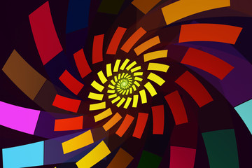 Abstract fractal swirl with brightly colored rectangles spinning out