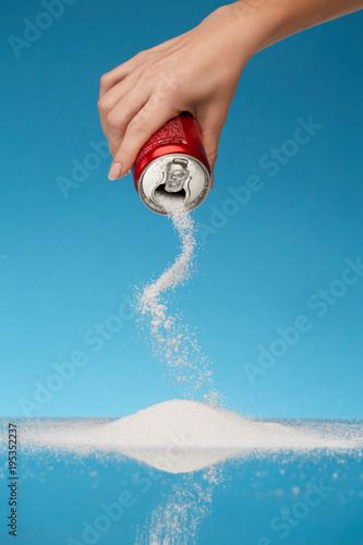 Sugar In Drinks. Hand Holding Soda Can With Sugar. - 195352237