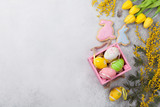 Easter eggs and yellow flowers. Greeting card - 195355019