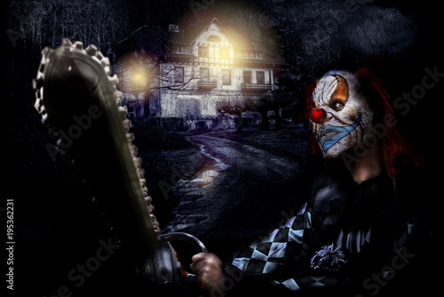 horror clown and scary house