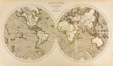Antique World Map in Two Hemispheres, Retro, 19th Century