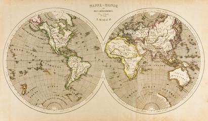 Antique World Map in Two Hemispheres, Retro, 19th Century