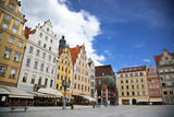 Colored houses on the central square of Wroclaw