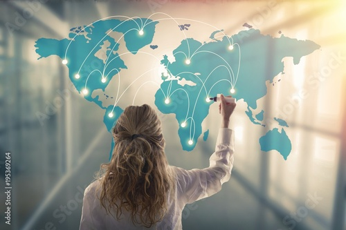 woman with the map of connections or communications, business concept - 195369264