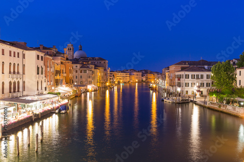 Foto op Canvas Venetie Venice / Night view of the river canale and traditional venetian architecture