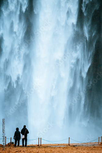 Staande foto Lichtblauw beautiful view of skogafoss waterfall, iceland