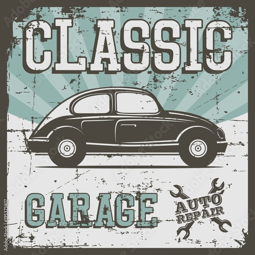 Ilustracja wektorowa z wizerunkiem starego samochodu klasycznego, logo projektu, plakaty, banery, oznakowanie.