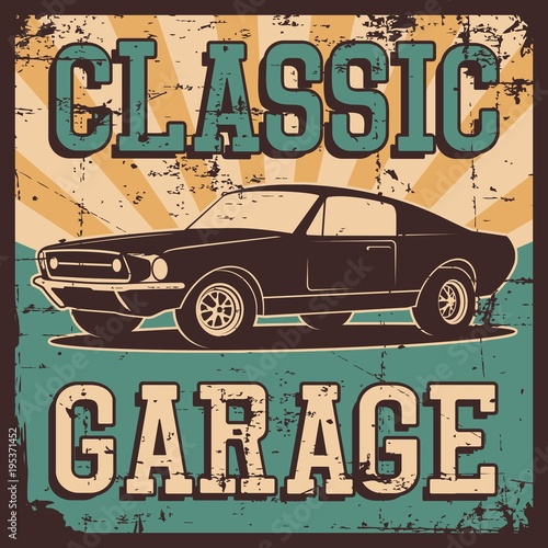 Fotobehang Vintage Poster Vector illustration with the image of an old classic car, design logos, posters, banners, signage.
