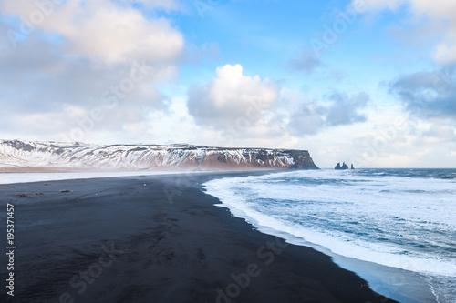 In de dag Pool reynisfjara volcanic beach panorama, iceland