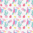 Punchy pastel cute animals background pattern - 195375024