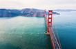 Aerial view of Golden Gate bridge at sunset