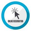 Online reservation blue flat design web icon