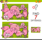 Find Differences  Pigs Farm Animal Characters Wall Sticker