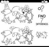 differences game with farm pigs coloring book - 195376490