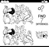 find differences game with birds coloring book - 195376641