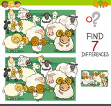 Find Differences  Sheep Farm Animal Characters Wall Sticker
