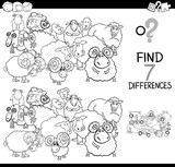 differences game with farm sheep coloring book - 195376699