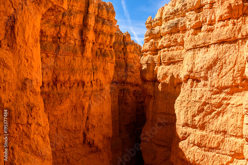 Fotobehang Rood traf. Bryce Canyon National Park - Hiking on the Queens Garden Trail and Najavo Loop into the canyon, Utah, USA.