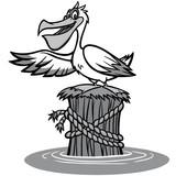 Pelican Illustration - A vector cartoon illustration of a Pelican pointing. - 195379606