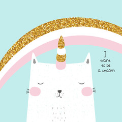 Cute cat unicorn with rainbow and slogan. Vector hand drawn illustration.