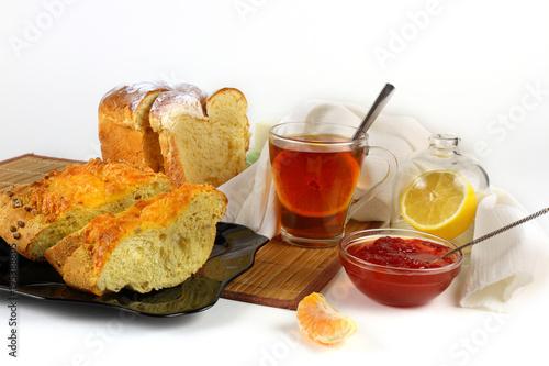 Papiers peints The Tea, lemon, pastries and jam