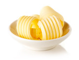 Butter curls isolated on white background - 195390051