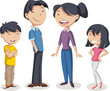 Colorful happy people. Cartoon asian family.