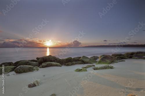 Aluminium Strand udi sunset with beautiful sun rays
