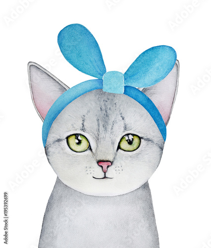 Grey kitten portrait with green eyes and turquoise colour cloth headband, looking at camera. Hand drawn water color graphic picture on white backgroung, cutout. Beautiful, cozy, colorful, small one. - 195392699