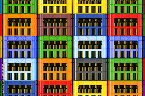 Fototapeta Background from colored plastic crates full of beer bottles, 3d rendering
