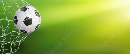 Foto op Aluminium Bol soccer ball in goal on green background