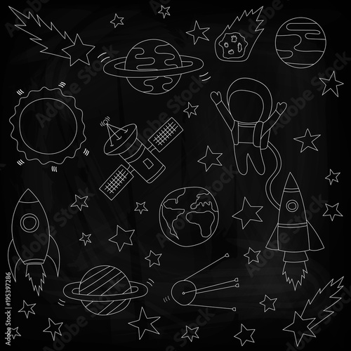 Fototapeta Stars and meteorites, a rocket and an astronaut, satellites on a black background. Drawing chalk on a blackboard. Vector illustration. Template on the theme of space