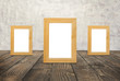 Blank wooden frames on the brown wood floor