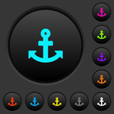 Anchor dark push buttons with color icons