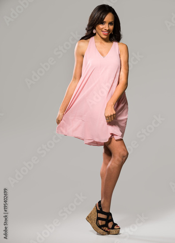 Gorgeous Woman in a Short Pink Dress