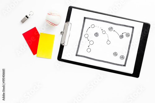 Sport judging concept. Soccer referee. Tactic plan for game, ball, red and yellow cards, whistle on white background top view copy space