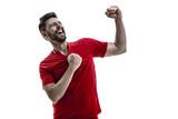 Athlete  Fan On Red Uniform Celebrating   Wall Sticker