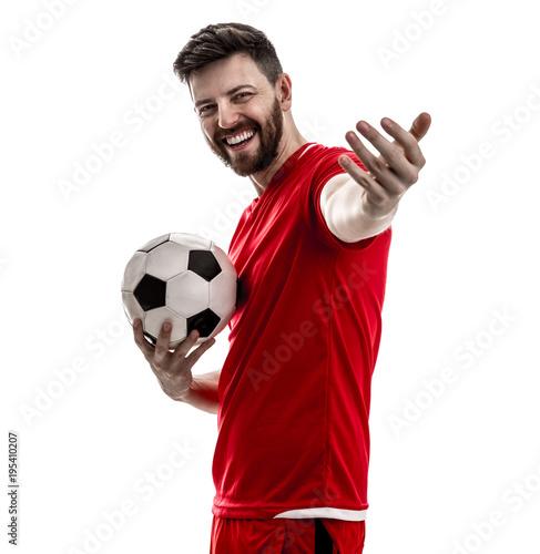Papiers peints Maroc Athlete / fan on red uniform celebrating on white background