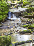 Small waterfall over rocks in a stream