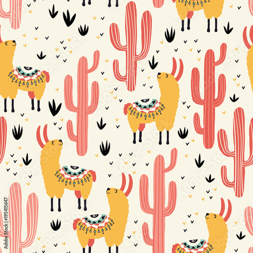 Yellow llamas and red cacti seamless pattern with lovely llamas and cacti in vector. - 195415647