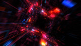Flight into Abstract 3D cosmic futuristic HUD tunnel for music videos, night clubs, audiovisual show and performance, LED screens and projection mapping. 3D render © Olivier