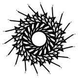 Geometric radial element. Abstract concentric, radial geometric motif - 195420623